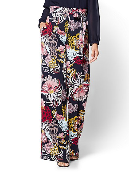 7th Avenue Pant - Pull-On Palazzo Pant - Navy - Floral - New York & Company