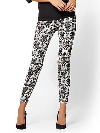 7th Avenue Pant - Pull-On - Slim-Leg - Signature - Grey Jacquard - New York & Company