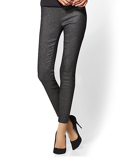 7th Avenue Pant - Pull-On - Slim-Leg - Signature - Metallic Diamond Print - New York & Company