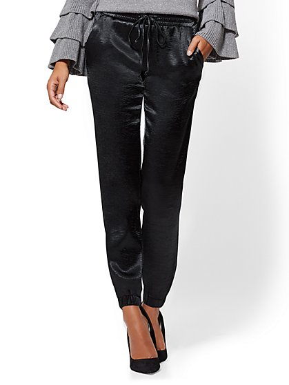 7th Avenue Pant - Satin Jogger - New York & Company