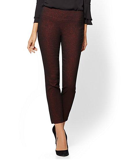 7th Avenue Pant - Slim Leg - Pull On - Red Metallic - New York & Company