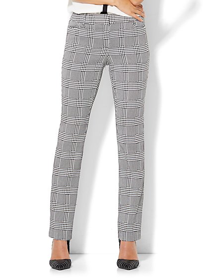 7th Avenue Pant - Slim-Leg - Signature - Black & White Plaid - New York & Company