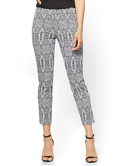 7th Avenue Pant - Straight-Leg Ankle - Modern - Black & White Print - New York & Company