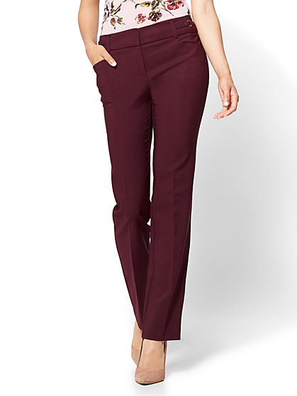 7th Avenue Pant - Straight Leg - Modern - All-Season Stretch - Burgundy - New York & Company