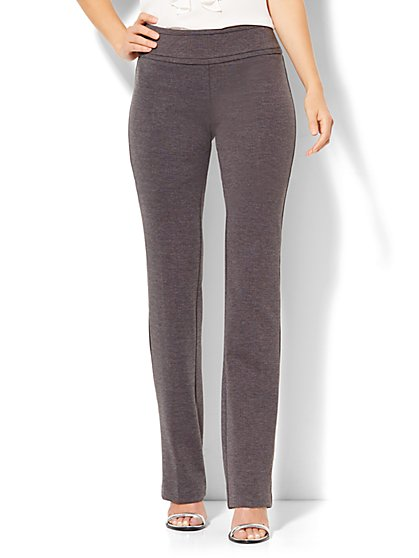 7th Avenue Pant - Straight-Leg Pull-On Ponte- Signature - Grey Heather - Tall   - New York & Company