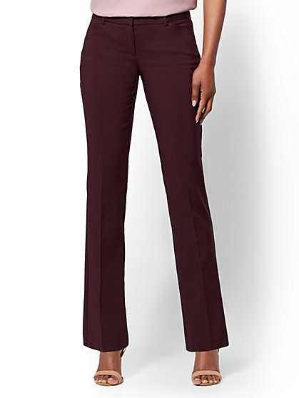7th Avenue Pant - Straight Leg - Signature - All-Season Stretch  - Burgundy - Tall  - New York & Company