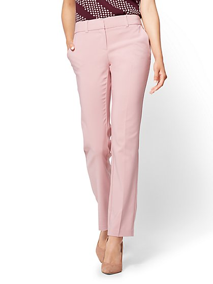 7th Avenue Pant - Straight Leg - Signature - All-Season Stretch - Pink - New York & Company