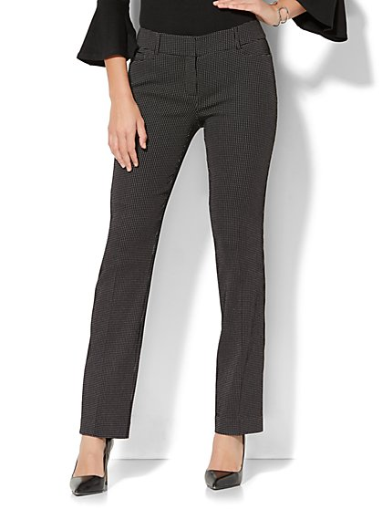 7th Avenue Pant - Straight Leg - Signature - Black & White - New York & Company
