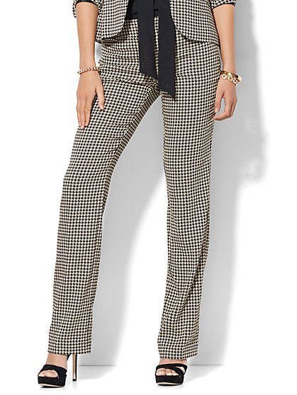 7th Avenue Pant - Straight Leg - Signature - Houndstooth - New York & Company