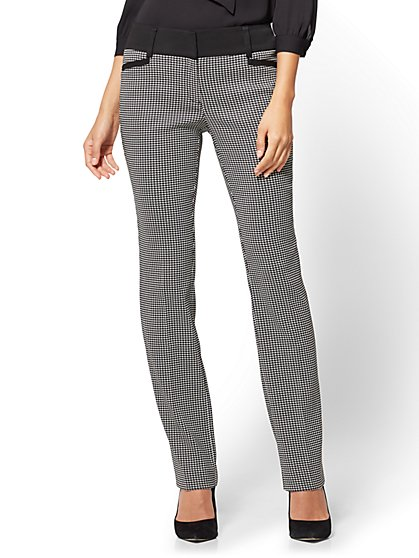 7th Avenue Pant - Straight Leg - Signature - Mini Check - Petite  - New York & Company