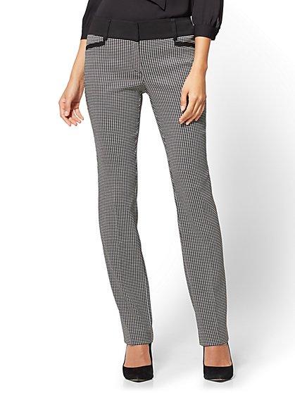 7th Avenue Pant - Straight Leg - Signature - Mini Check - New York & Company