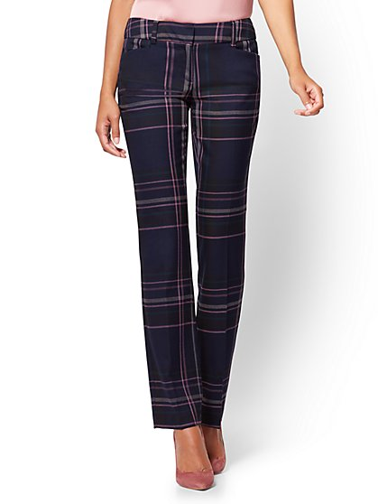 7th Avenue Pant – Straight Leg – Signature – Navy Plaid - New York & Company