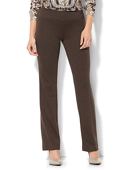 7th Avenue Pant - Straight Leg - Signature - Pull-On - Ponte - Brown - New York & Company
