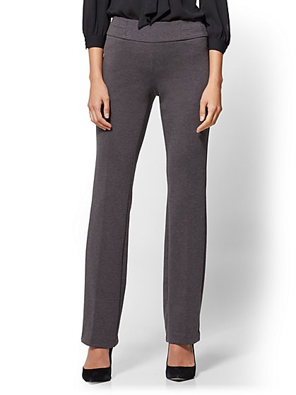 7th Avenue Pant - Straight Leg - Signature - Pull-On - Ponte - Grey - Petite - New York & Company