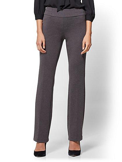 7th Avenue Pant - Straight Leg - Signature - Pull-On - Ponte - Grey - New York & Company
