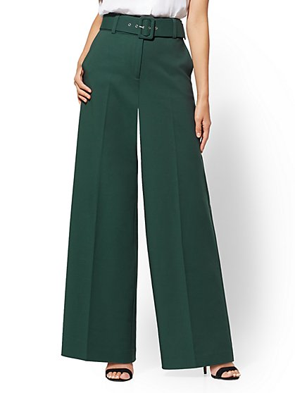 7th Avenue Pant - Tall Green Wide-Leg - Signature - All-Season Stretch - New York & Company
