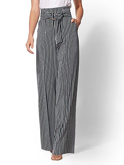 7th Avenue Pant - Tall Paperbag-Waist Palazzo - Green Stripe - New York & Company