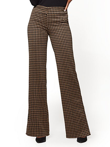 7th Avenue Pant - Wide Leg - Camel -Houndstooth - New York & Company