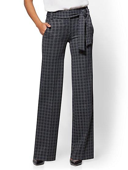 7th Avenue Pant - Wide Leg - Ponte - Grey Plaid - New York & Company