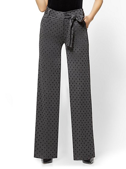 7th Avenue Pant - Wide Leg - Ponte - Grey Polka Dot - New York & Company