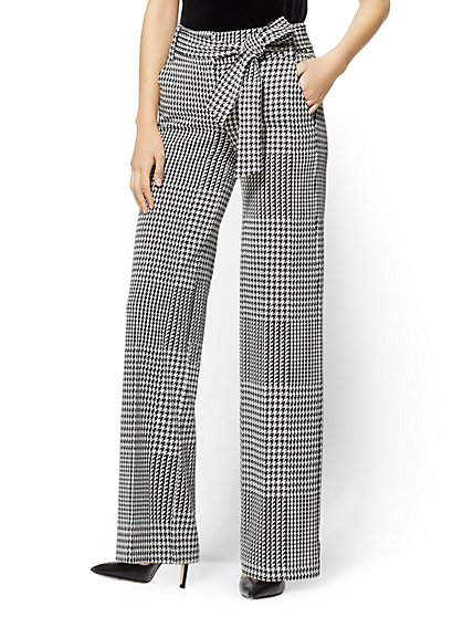 7th Avenue Pant - Wide Leg - Ponte - Houndstooth - New York & Company