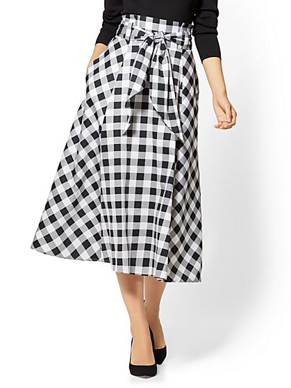7th Avenue - Paperbag-Waist Flare Skirt - Gingham - New York & Company