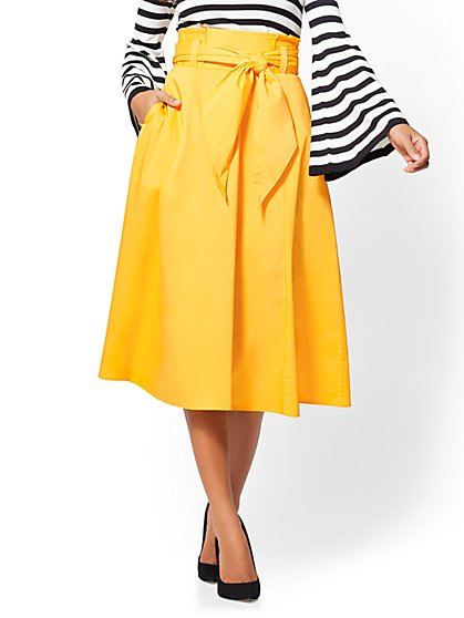 7th Avenue - Paperbag-Waist Flare Skirt - Yellow - New York & Company