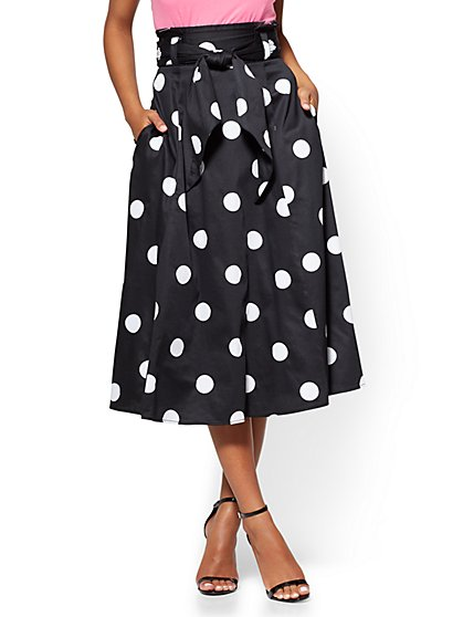 7th Avenue - Paperbag-Waist Full Skirt - Polka-Dot Print - New York & Company