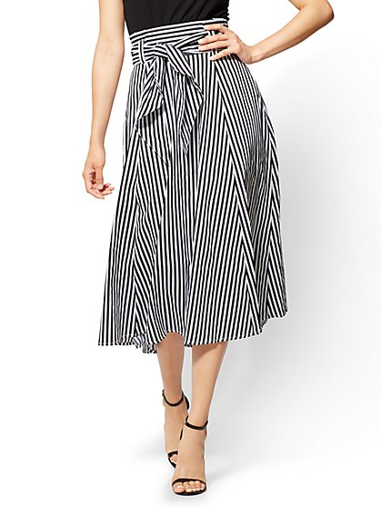 7th Avenue - Paperbag-Waist Full Skirt - Stripe - New York & Company