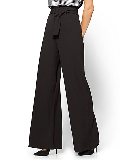 7th Avenue - Paperbag-Waist Palazzo Pant - Black  - New York & Company