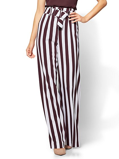 7th Avenue - Paperbag-Waist Palazzo Pant - Stripe  - New York & Company
