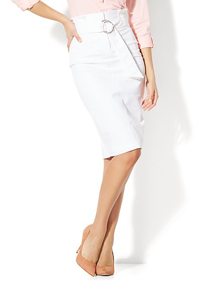 7th Avenue - Paperbag-Waist Pencil Skirt - White - New York & Company