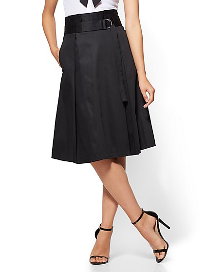 7th Avenue - Paperbag-Waist Skirt - Black - New York & Company