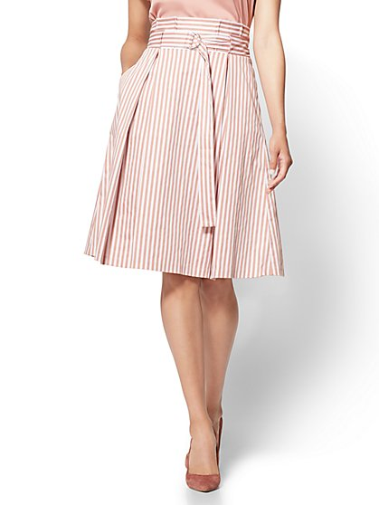 7th Avenue - Paperbag-Waist Skirt - Rose Stripe - New York & Company