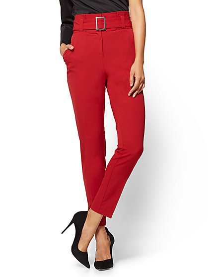 7th Avenue - Paperbag-Waist Slim-Leg Pant  - New York & Company