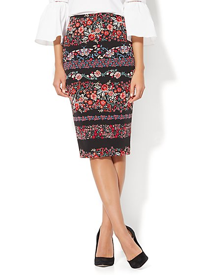 7th Avenue - Pencil Skirt - Black Floral Print - New York & Company