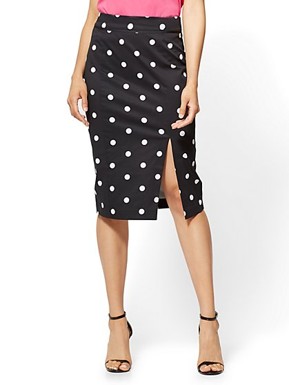 7th Avenue - Pencil Skirt - Black - Polka-Dot Print - New York & Company