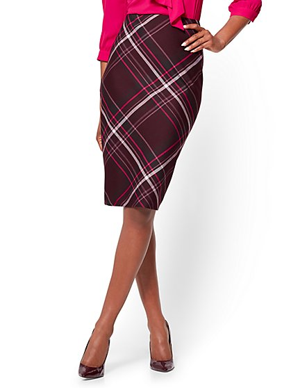 7th Avenue - Pencil Skirt - Modern - Burgundy - Plaid  - New York & Company