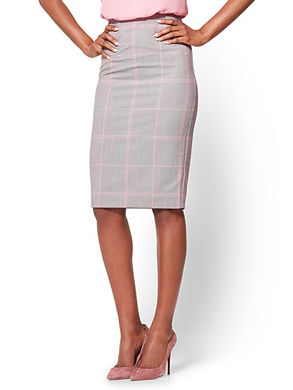 7th Avenue - Pencil Skirt - Modern - Plaid  - New York & Company