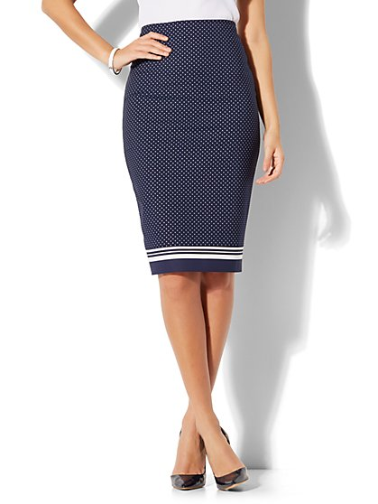 7th Avenue - Pencil Skirt - Pindot Print & Striped Trim - New York & Company