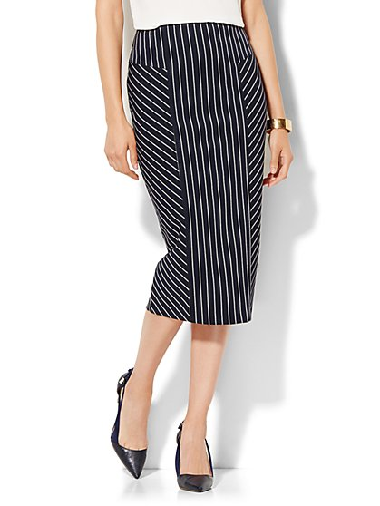 7th Avenue - Pencil Skirt - Signature - Navy Pinstripe  - New York & Company