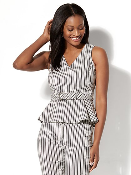 7th Avenue Peplum Top - Black & White Stripe - New York & Company