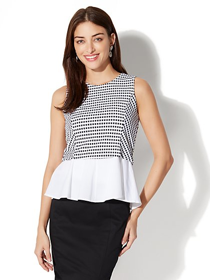 7th Avenue Peplum Top - Black & White - New York & Company