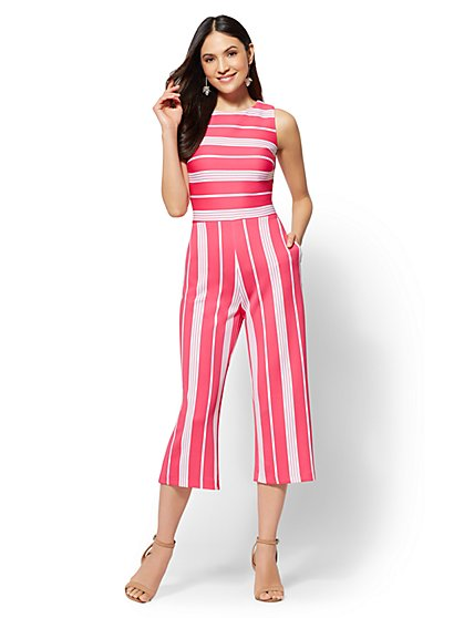 7th Avenue - Petite Striped Culotte Jumpsuit - New York & Company