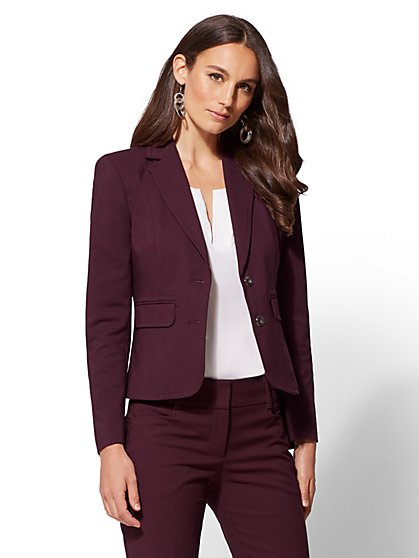 7th Avenue - Petite Topstitched Two-Button Jacket - All-Season Stretch - New York & Company