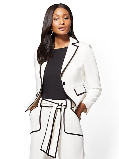 7th Avenue - Piped One-Button Jacket - Ivory - New York & Company