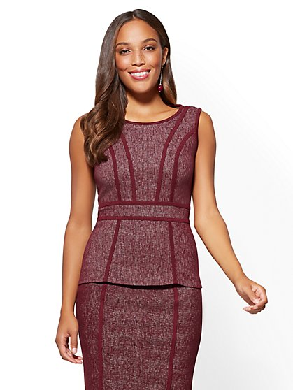 7th Avenue - Piped Peplum Top - New York & Company