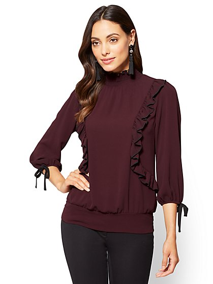 7th Avenue - Piped & Ruffled High-Neck Blouse  - New York & Company