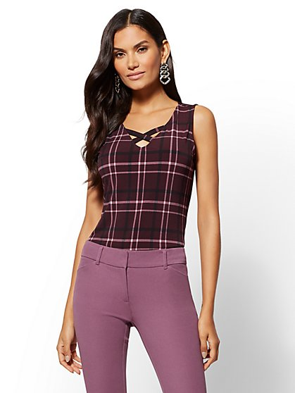 7th Avenue - Plaid Crisscross Top - New York & Company