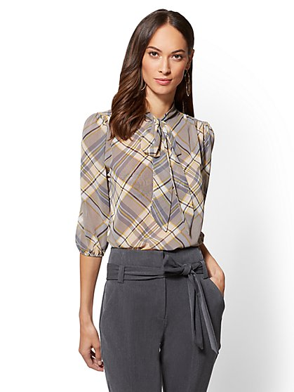 7th Avenue - Pleated Bow Blouse - Plaid - New York & Company